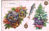 18213- 1er Avril Poisson Peche - Relief Collage Fleur - éd Robert -Marseille -muguet Pensée
