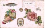 18214- 1er Avril Poisson Peche - Relief Collage Fleur - éd Robert -Marseille -rose - 1er Avril - Poisson D'avril
