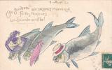 18215- 1er Avril Poisson Peche - Suiveur Promet Merveille, Faite Sourde Oreille ! Carte En Relief . Femme A.B. Lyon - 1er Avril - Poisson D'avril