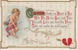 Valentine's - Valentine - Saint-Valentin - Cherub Chérubin - Embossed - Written - 1905-1910 - 2 Scans - Valentine's Day