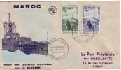 ENVELOPPE POUR LES OEUVRES SOCIALES DE LA MARINE 1954 - Maroc (1956-...)