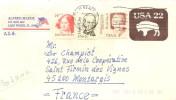 (d) Lettre (entier Postal) Pour La France Avec 3 Timbres Henry Clay, Julia Ward Howe Et Pearl Buck - Covers & Documents