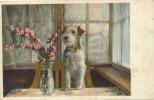 Jolie Carte Fantaisie Chien Et Fleurs écrite En 1948 - Chiens