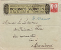 4546# BELGIQUE LETTRE ILLUSTREE MANUFACTURE DE TABACS & CIGARETTES HORGNIES BAUDOIN Obl CHARLEROI 1912 - 1915-1920 Albert I
