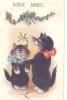 CHAT   ))  Bonne Année, Deux Petits Chats Sous Le Gui... - Chats