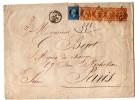 N° 22 N ° 23 X 4 ( Yvert ) S / L Chargée T.P.Ob PC Du GC 3122 + T 15 Rennes 9 Mars 65.4ème échelon De Poids. - 1849-1876: Classic Period