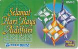 MALAYSIA - Selamat Hari Raya Aidilfitri, Telecom Malaysia Prepaid Card RM10, Exp.date 31/08/02, Used - Malaysia