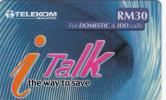 MALAYSIA - I Talk, Telecom Malaysia Prepaid Card RM30, Exp.date 30/09/04, Used