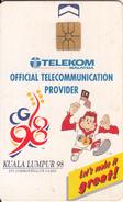 "MALAYSIA(chip) - Kuala Lumpur ""98/XVI Commonwealth Games, Telecom Malaysia Telecard RM50, Chip GEM1, Used - Malaysia"