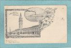 GREETINGS FRON  SAN  FRANCISCO  -  FERRY BUILDING + FERRYBOAT BERKELEY - 1901 -  BELLE CARTE PRECURSEUR ( Petit Format ) - San Francisco