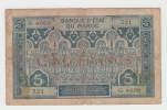 Morocco French 5 Francs 1924 G-VG RARE Banknote P 9 - Maroc