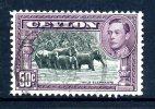 Ceylon KGVI 1938-49 50c Wild Elephants Used - Perf. 11½ X 11 - Ceylan (...-1947)