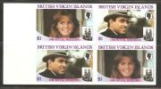 British Virgin Islands 1986 Andrew Royal Wedding Set - Imperforate Setenant Blocks 4 MNH - British Virgin Islands