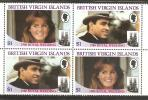 British Virgin Islands 1986 Andrew Royal Wedding Set -Se-tenant Blocks 4 MNH - British Virgin Islands