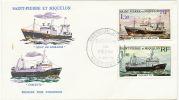 St Pierre Miquelon Enveloppe 1er Jour Bateaux De Peche 1976 Goelette Et Croix De Lorraine - Non Classés