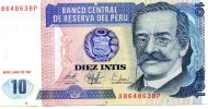 BILLET BANCO CENTRAL DU PEROU DIEZ INTIS.... A8648638P.... VOIR SCANNER - Pérou