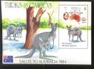 TURKS & CAICOS 644  MINT NEVER HINGED SOUVENIR SHEET OF SALUTE TO AUSTRALIA 1984 ; ANIMALS ; KANGAROO - Timbres
