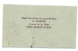Fort-Mahon (80) : Carte De Visite Du Dépôt De Journeaux Dumont Env 1930. - Cartoncini Da Visita