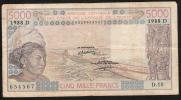 MALI  P407Da  5000 FRANCS 1988 Sugn.14 Fine/one Small Tear/NO P.h. !! - Mali