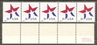 USA. Scott # 3615 MNH. Coil Strip Of 5 Pl # S 111 With Control #. Star 2002 - Coils (Plate Numbers)