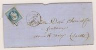 N° 14 BLEU NAPOLEON SUR LETTRE / PARIS POUR BASTIA / 4 NOV 1858 PETIT BORD DE FEUILLE - Marcophilie (Lettres)