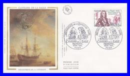 2250 (Yvert) Sur Enveloppe Premier Jour Illustrée Sur Soie Cavelier De La Salle Découverte De La Louisiane - France 1982 - FDC
