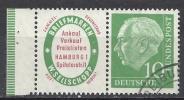 Deutschland 1954 Heuss Mit Zierfeld Und Rand 10 Pfg. Smaragdgrün Michel Nr. 183 W4 Gestempelt! Scott 708; W 4 - Zusammendrucke