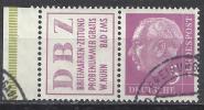 Deutschland 1955 Heuss Zd Mit Zierfeld + Rand 5 Pfg. Rosalila DBZ Gestempelt Michel 179 W6 W 6 R3 + 179 XW - Zusammendrucke