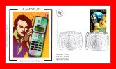 """FDC En Soie De 2001 N° YT 3374 """" SERIE LA COMMUNICATION : LE TELEPHONE PORTABLE """" En PARFAIT état + Prix Dégressif !"""