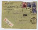 Deutsland Brief Einschreiben + Express, Luik-> Rotterdam 1915 ,  Misch Frankatur , Hinterseite Gerissen