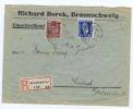 Deutsland Brief Einschreiben, Borek Braunschweig -> Lubeck, 1924, Misch Frankatur