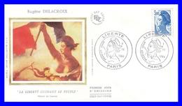 """2320 Yvert) Sur Enveloppe Premier Jour Illustrée Sur Soie - Type """"Liberté"""" De Delacroix - France 1984 - 1980-1989"""