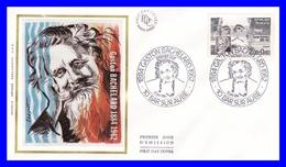 2330 (Yvert) Sur Enveloppe Premier Jour Illustrée Sur Soie - Personnages Célèbres Gaston Bachelard - France 1984 - 1980-1989