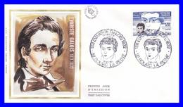 2332 (Yvert) Sur Enveloppe Premier Jour Illustrée Sur Soie - Personnages Célèbres Évariste Galois - France 1984 - 1980-1989