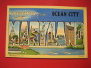 Maryland > Ocean City  Block Letter Greeting Linen  =========  Ref 284 - Ocean City