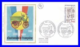 2341 (Yvert) Sur Enveloppe Premier Jour Illustrée Sur Soie - Centenaire De L´automobile - France 1984 - 1980-1989