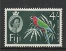 Fiji QEII 1959-63 Definitives 4/- Red Shining Parrot MNH - Wmk. Multiple Script CA - Fidschi-Inseln (...-1970)