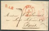 LAC De MONS Le 1 Août 1837 + Griffe Rouge B.1.R. Vers Paris - Taxée  7décimes - 7233 Bis - 1830-1849 (Belgique Indépendante)