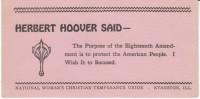 National Woman's Christian Temperance Union, President Hoover 18th Amendment Quote, Anti-Alcohol, C1920s Vintage Blotter - Löschblätter, Heftumschläge