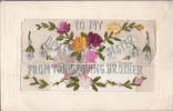 """CARTE BRODEE AVEC MESSAGE INTERIEUR """"TO MY DEARD SISTER""""-  EMBROIDERED CARD WITH MESSAGE INSIDE (2 Scans) - Brodées"""