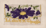 """CARTE BRODEE AVEC MESSAGE INTERIEUR """"NOT ABSENT IN THOUGHTS""""-  EMBROIDERED CARD WITH MESSAGE INSIDE (2 Scans) - Brodées"""