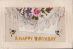"""CARTE BRODEE AVEC MESSAGE INTERIEUR EN SOIE """"A HAPPY BIRTHDAY""""-  EMBROIDERED CARD WITH SILK MESSAGE INSIDE (2 Scans) - Brodées"""
