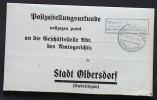 Deutsches Reich Böhmen Und Mähren Postzustellungs Urkunde Posthilfsstelle Neudörsel Ostsudeten. - Covers & Documents