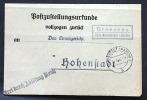 Deutsches Reich Böhmen Und Mähren Postzustellungs Urkunde Posthilfsstelle Drosenau. - Covers & Documents