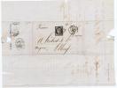 France, Lettre 1850 De Arras -> Royan Et Paris A Elbeuf, Nr 3, Grille Et Petit Cachet A Date - 1849-1850 Ceres