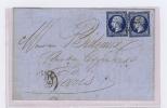 France, Lettre 1857 (?) Tours A Paris, 2 X Nr 14, Etoile 3398 Et Cachet A Date