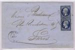 France, Lettre 1858 Tours A Paris, 2 X Nr 14 (separé), Etoile 3398 Et Cachet A Date