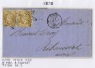France, Lettre 1860  Paris-> Ribemont , 2 X Nr 13 (separé), Etoile 3398 Et Cachet A Date - 1853-1860 Napoleon III