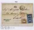 France Lettre 1861  2x Nr 14, 1x Nr 16 Couleur Différente, Marseille A London, PD Et PAID En Rouge London