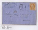 France Lettre 185?,  Nr 16 De Avize A Hannuit - Belgique, Payé Jusqu'á Destination, Losange PC 210